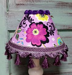 Lampshade purple lavender teal floral fabric tassel fringe by HolyChicBoutiqueCo on Etsy
