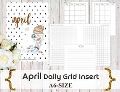 PERSONAL Size: MONDAY Start-April 2017 Month/Habit tracker/Savings Tracker/Bill PaymentTracker/Daily GRID Travelers Notebook Insert by ThePlannerPhilosophy on Etsy