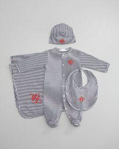 -45P8 Kissy Kissy Striped Footie, Hat, Bib & Blanket, Navy