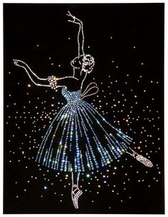 Ballet Dancer Art made with Swarovski Crystals on Black Velvet under Glass  from Otabix E1.RU