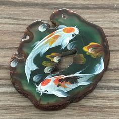NEW! HAND PAINTED GOLD FISH AGATE SLICE GEMSTONE NECKLACE PENDANT ZP80 00124 #ZL #PENDANT