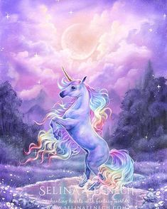 """New unicorn art! I shared some WIP pics of this now here is """"Rainbow Dreams"""" all finished. The original painting has been claimed by my daughter _ but prints and other awesome products are at https://ift.tt/2GW4vpI #unicorn #oilpainting #fantasyart"""