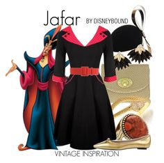 Jafar by leslieakay on Polyvore featuring Marc Jacobs, Nina, Barse, Bling Jewelry, River Island, FAUSTO PUGLISI, disney, disneybound and disneycharacter