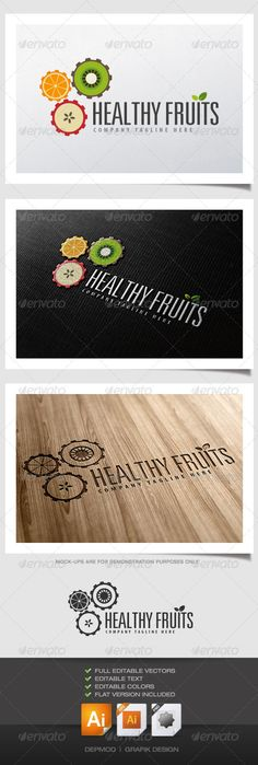 Healthy Fruits logo  #GraphicRiver        Clever logo of fruits slices working togehter as gear.