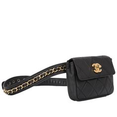 Chanel Vintage Black Quilted Lambskin Iconic Chained Fanny Pack image 2