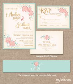 elegant spring mint green and peach flower watercolor ticket shape