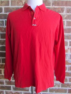 Men's Burberry Long Sleeve Golf Polo Red Large #Burberry #Polo