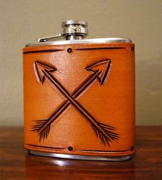 Arrow Tooled Leather & Stainless Steel Flask.
