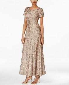 Alex Evenings Petite Rosette Lace A-Line Gown - Dresses - Women - Macy's