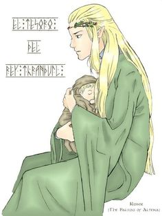 Legolas as baby with father Thranduil