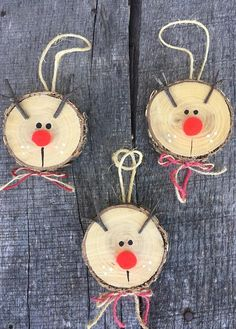 Your daily dose of Inspiration: 3 Rustic Wooden Reindeer Ornaments/Log Slice Rudolph Ornaments/Wooden Christmas Tree Ornaments/Wood Slice Ornament/Christmas decor Wooden Christmas Ornaments, Reindeer Ornaments, Ornament Crafts, Christmas Crafts For Kids, Xmas Crafts, Rustic Christmas, Christmas Projects, Christmas Diy, Ornaments Ideas