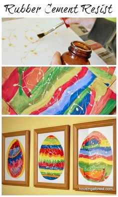 Watercolor techniques for kids rubber cement resist housingaforest пасха, у Easter Arts And Crafts, Easter Activities For Kids, Projects For Kids, Art Projects, Crafts For Kids, Diy Crafts, Art Videos For Kids, Art For Kids, Kid Art