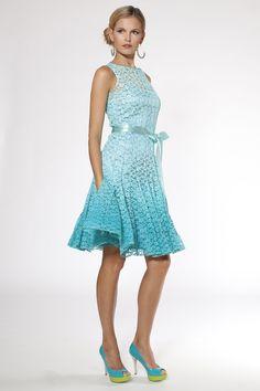 Turquoise Sleeveless Lace Cocktail Dress | Teri Jon