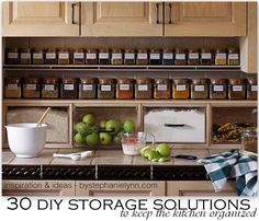 DIY Kitchen Organization: 30 DIY Storage Solutions to Keep the Kitchen Organized {Saturday Inspiration & Ideas} - bystephanielynn - DIY Refashion Diy Kitchen Storage, Diy Storage, Kitchen Organization, Organization Ideas, Organized Kitchen, Storage Design, Extra Storage, Storage Shelves, Cabinet Shelving