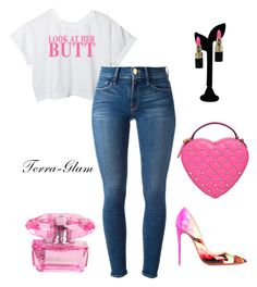 """""""Look At Her Butt"""" by terra-glam ❤ liked on Polyvore featuring Moschino, Frame Denim, Versace and Christian Louboutin"""