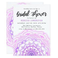 Watercolor Pink Mandala Bohemian Bridal Shower Card - watercolor gifts style unique ideas diy