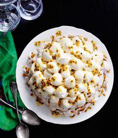 Australian Gourmet Traveller recipe for Rockpool Bar & Grill's passionfruit pavlova.