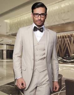 1920s mens vintage inspired mens suit. Fitted Skinny Narrow Lapel LOW VEST Center Vented European Suits For Men Super 150s Wool Tan $175.00 AT vintagedancer.com