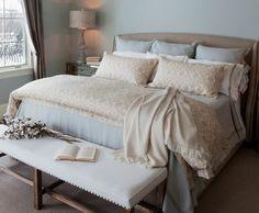 Custom bedding and bench reupholstery Interior Decorating, Interior Design, Custom Bedding, Bench, Design Ideas, Blue, Furniture, Home Decor, Nest Design