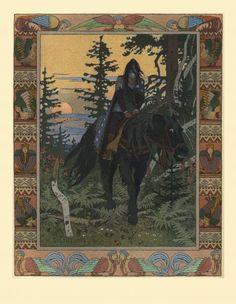 """Black Rider, Illustration for the fairy tale """"Vasilisa the Beautiful"""", Ivan Bilibin Ivan Bilibin, Art Database, Russian Art, Russian Folk, Illustrations, Art Nouveau, Fairy Tales, Moose Art, Beautiful"""
