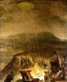 "Aliens and UFOS in Ancient Art ~ ""The Baptism of Christ"" was Painted in 1710 by Flemish artist Aert De Gelder depicts a classic, hovering, silvery, saucer shaped UFO shining beams of light down on John the Baptist and Jesus."