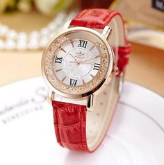 Quartz Rhinestone Leather Casual Dress Rose Gold Crystal Watch