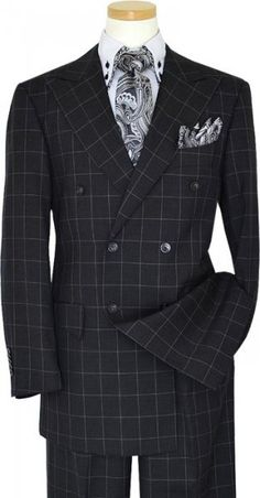 Masteloni Collection Charcoal Grey With Silver Grey Windowpanes Super 150\'S Double-Breasted Suit 2227/341132/532