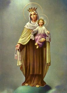 """Our Lady of Mount Carmel said to St. Simon Stock, """"Whoever dies wearing this garment (the brown scapular) shall not suffer eternal fire."""" The Memorial of Our Lady of Mount Carmel, July Blessed Mother Mary, Blessed Virgin Mary, Mont Carmel, I Love You Mother, Lady Of Mount Carmel, Verge, Catholic Religion, Catholic Memes, Mary And Jesus"""