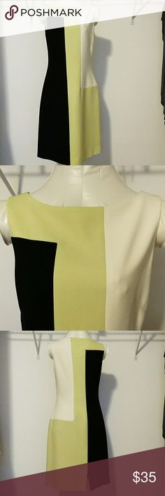 "Asymmetrical Black, Lime, and Cream dress, size 4 I've had this dress for over 15 years, just doesn't fit me. Waist 14 1/2"" and full length is 37"". Great interview dress! Jones New York Dresses Midi"