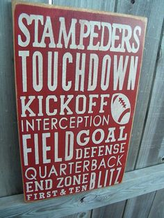Football Typography Sign subway sign by Wildoaks on Etsy, $30.00