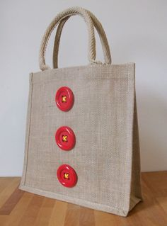 Natural Jute Hessian Decorated Medium Shopping Bag -  Red Clown Buttons £10.00