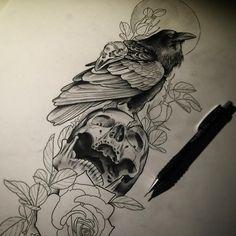 New Tattoo Traditional Crow Posts 55 Ideas Rabe Tattoo, Tattoo P, Wolf Tattoos, Animal Tattoos, Girl Tattoos, Dibujos Tattoo, Desenho Tattoo, Trendy Tattoos, New Tattoos