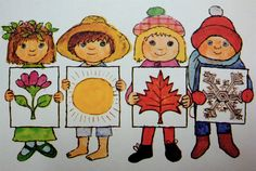 This was one of my favorite books to read to my girls. A Book of Seasons by Alice and Martin Provensen. Seasons Activities, Craft Activities, Seasons Of The Year, Four Seasons, Weather For Kids, Alice Martin, Teaching Weather, Season Calendar, Weather Crafts