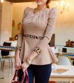 Work Round Neck Long Sleeve Leopard Embellished Waist Light Tan T-shirt