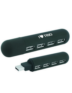 POCKET-SIZED 4-PORT HUB http://proformatrioideas.com Slim design, travels anywhere, includes cover to protect connector when not in use. Can be printed with any one color TRIO logo or artwork.