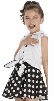 """Kate Mack  """"Opposites Attract"""" Black & White Swing Skirt Set Dress 6-8"""