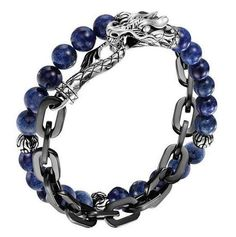 John Hardy men's Batu silver stainless steel double wrap link bracelet with la...