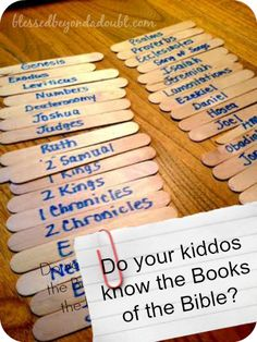 Super FUN way to learn the books of the bible! FREE printable books of the bible!---may work better than the clothes pins