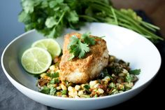 Halibut with Fava Bean and Fresh Corn Succotash