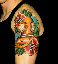 tattoo old school / traditional nautic ink - helmet dive mask
