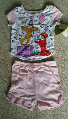 NEW NWT 2 piece Sesame Street Elmo Zoe Short Summer Birthday Party Pajamas 2T #SesameStreet #TwoPiece