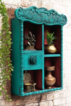 These vintage items are handcrafted, hand-painted and one of a kind treasures, so they may have slight imperfections that add to the beauty and charm of these handmade creations.#turquoise#furniture#shabbychic#knickknackshelf#architecturalsalvage#shelves#design#homedecor#shelvesdesign#shelfie#decor Indian Room Decor, Ethnic Home Decor, Handmade Home Decor, Vintage Home Decor, Handmade Decorative Items, Home Decor Ideas, Home Decor Furniture, Art Decor, Turquoise Walls