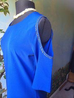 Body Central Women Cut Out Shoulder Blue Dress SZ M #BodyCentral #Shift #Cocktail