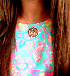 love this monogrammed necklace & bright printed shift dress!