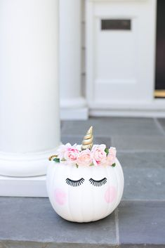 Decorated Unicorn Pumpkin For Better Homes & Gardens | Best Friends For Frosting