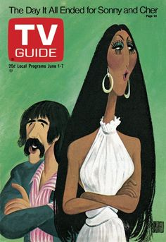 TV Guide June 1, 1974 - Sonny Bono and Cher of The Sonny And Cher Show.  Illustration by Al Hirschfeld.