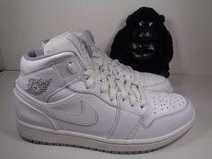 2dbd5f6ce72 Mens Nike Air Jordan 1 Mid Basketball Leather Shoes White Wolf Grey size 10   Nike  BasketballShoes