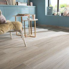 Carrelage sol et mur blanc effet bois Way l.19.7 x L.120 cm