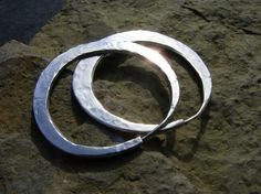 Dazzlingly bright hammered silver hoops