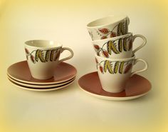 Mid Century Poole Pottery Cups and Saucers Lucullus Design Set of 4